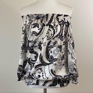 WHBM Floral Wear 2 Ways Slit Sleeve Top